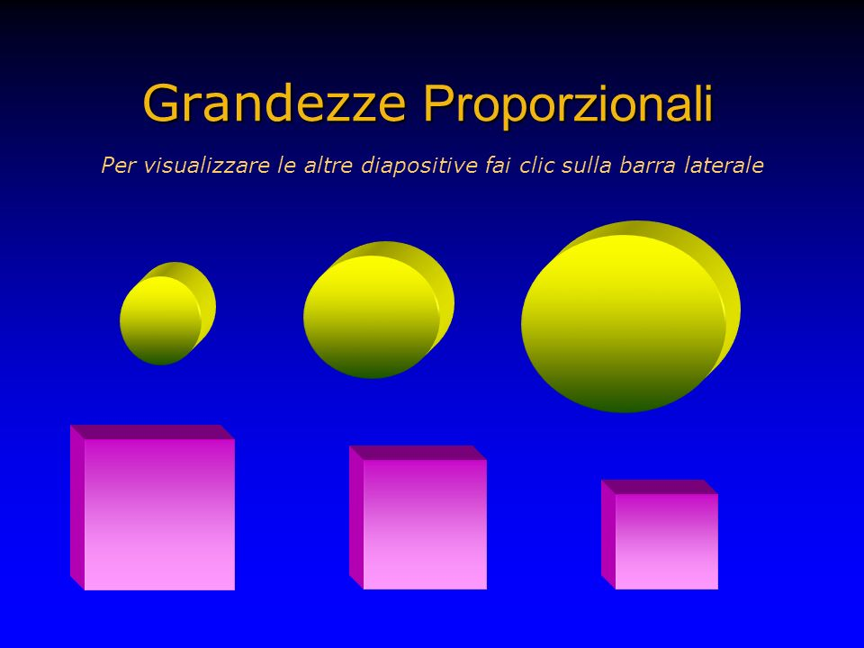 Grandezze Proporzionali Per visualizzare le altre diapositive fai clic sulla barra laterale