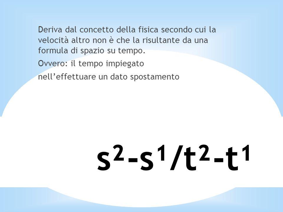 s²-s¹/t²-t¹ Deriva dal concetto della fisica secondo cui la velocità altro non è che la risultante da una formula di spazio su tempo. Ovvero: il tempo