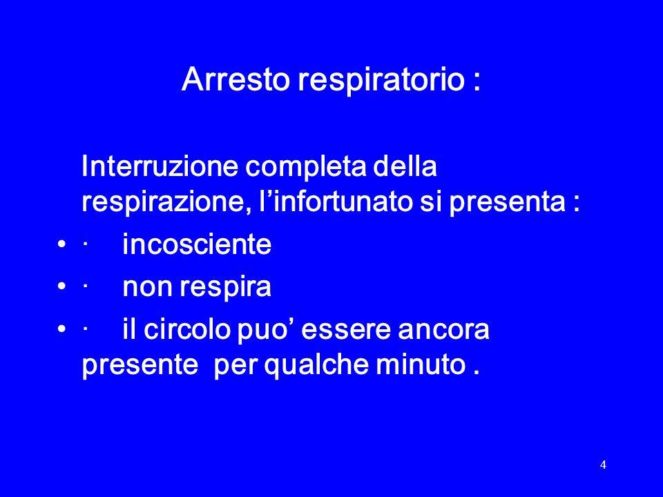5 Cause di arresto respiratorio : Ostruzione delle vie aeree da caduta della lingua nel soggetto non cosciente, da corpi estranei.