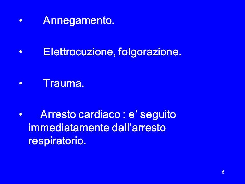 7 Arresto cardiaco : Cessazione improvvisa dellattivita di pompa da parte del cuore.