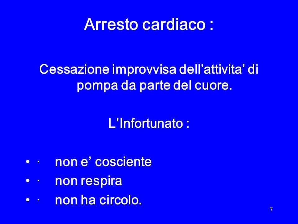 8 Cause cardiache : · Aritmie in corso di infarto miocardico acuto. · Aritmie primitive.