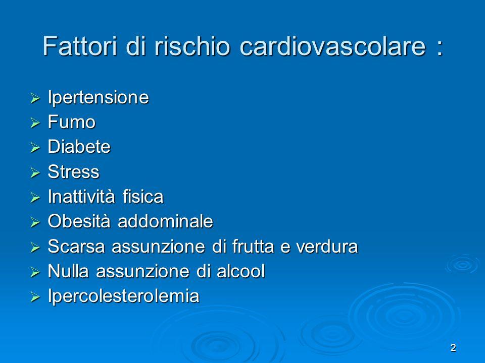 2 Fattori di rischio cardiovascolare : Ipertensione Ipertensione Fumo Fumo Diabete Diabete Stress Stress Inattività fisica Inattività fisica Obesità a