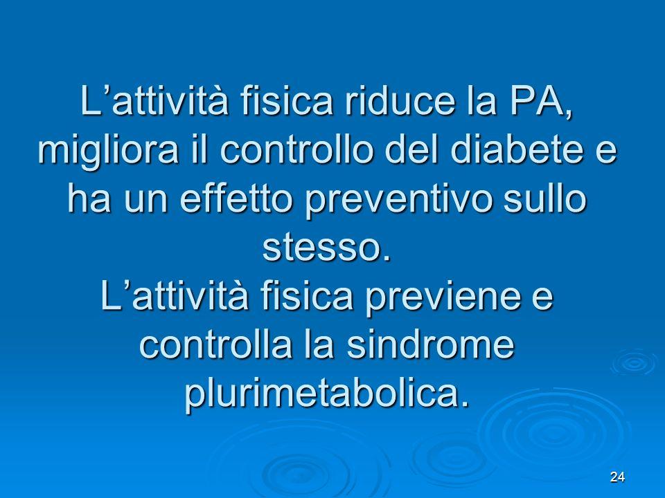 24 Lattività fisica riduce la PA, migliora il controllo del diabete e ha un effetto preventivo sullo stesso. Lattività fisica previene e controlla la