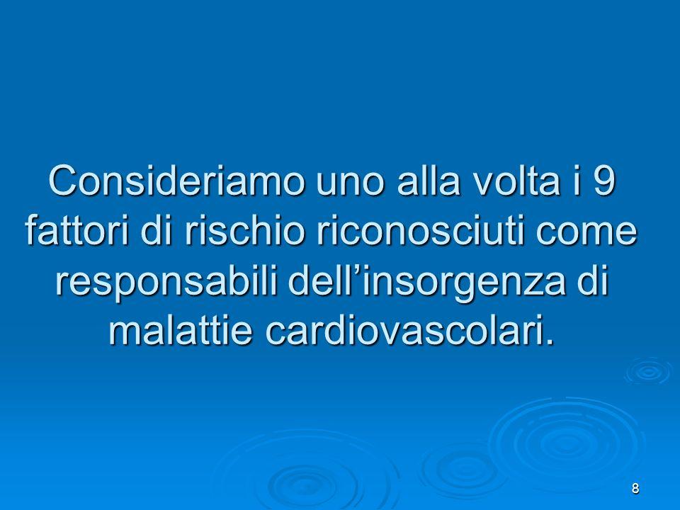 8 Consideriamo uno alla volta i 9 fattori di rischio riconosciuti come responsabili dellinsorgenza di malattie cardiovascolari.