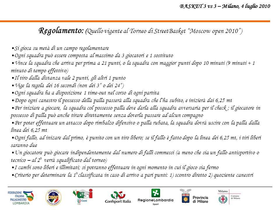 BASKET 3 vs 3 – Milano, 4 luglio 2010 LOCATION: In fase di definizione (Lido di Milano, Idroscalo) in caso di pioggia si giocher à al coperto e verr à comunicato tempestivamente il luogo INFORMAZIONI SUL TORNEO INTERNAZIONALE MOSCOW OPEN 2010 http://www.mo3on3.ru/ru/rus/2/tyrniri/mo/moenglish/moengnews/?text_id=27248
