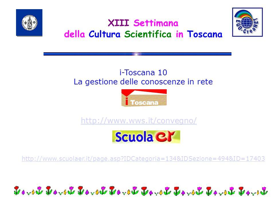 XIII Settimana della Cultura Scientifica in Toscana http://www.wws.it/convegno/ i-Toscana 10 La gestione delle conoscenze in rete http://www.scuolaer.