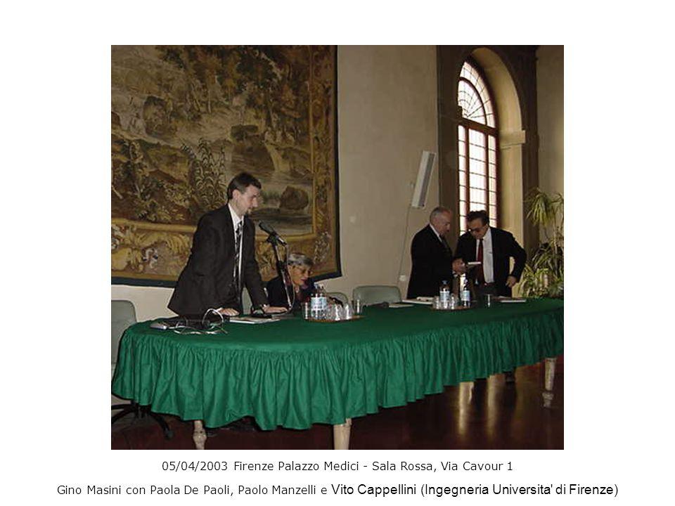 05/04/2003 Firenze Palazzo Medici - Sala Rossa, Via Cavour 1 Gino Masini con Paola De Paoli, Paolo Manzelli e Vito Cappellini (Ingegneria Universita'