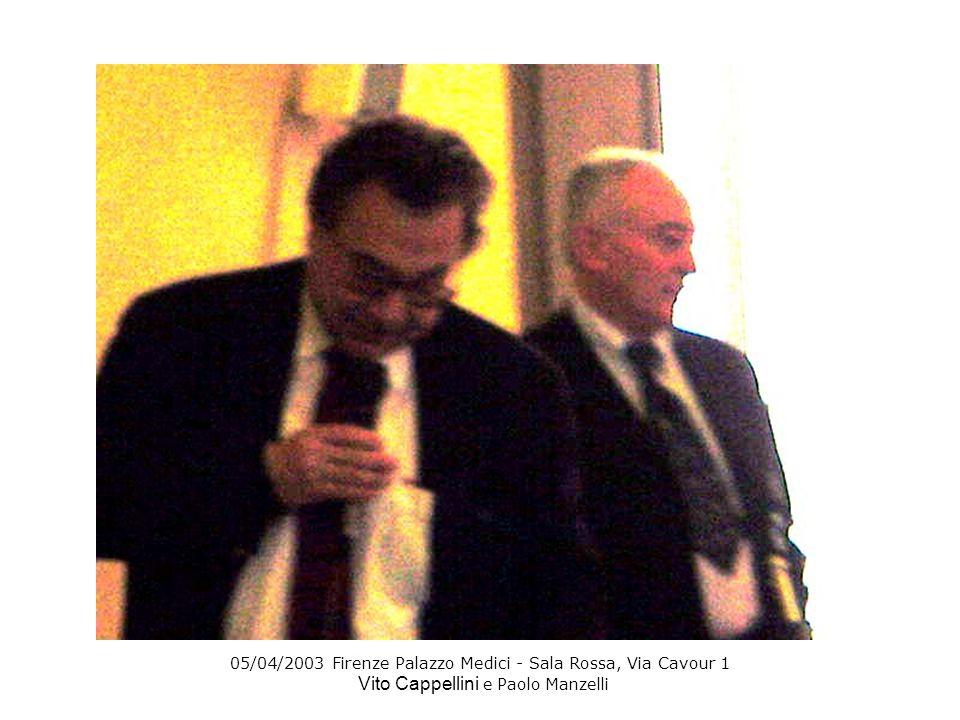 05/04/2003 Firenze Palazzo Medici - Sala Rossa, Via Cavour 1 Vito Cappellini e Paolo Manzelli