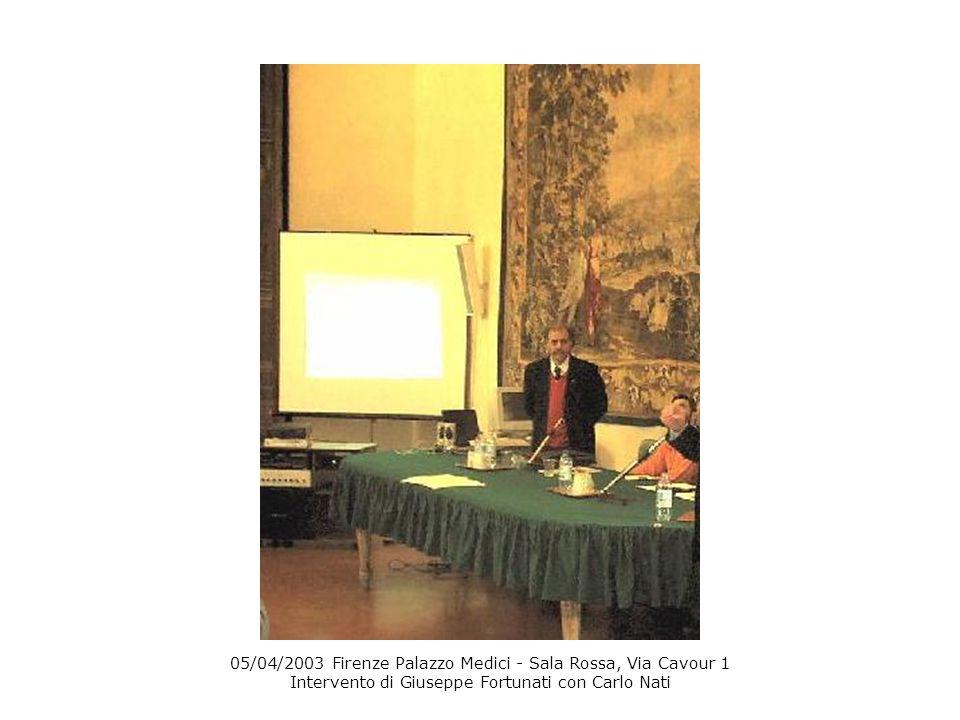 05/04/2003 Firenze Palazzo Medici - Sala Rossa, Via Cavour 1 Intervento di Giuseppe Fortunati con Carlo Nati