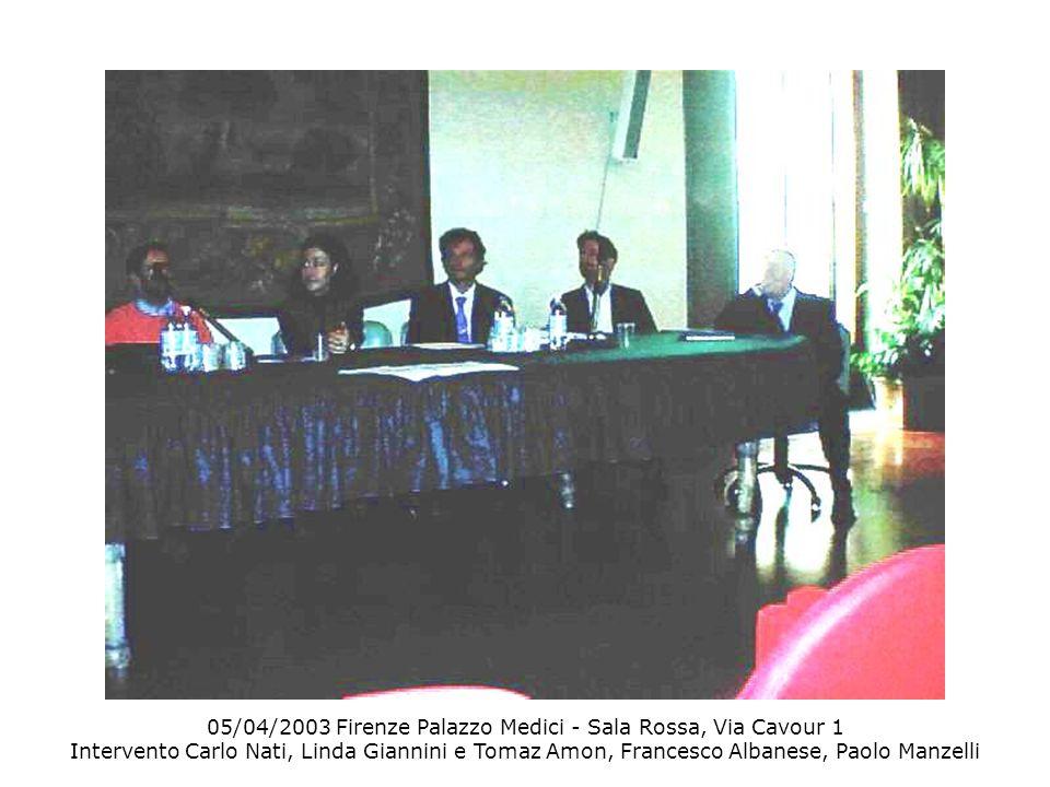 05/04/2003 Firenze Palazzo Medici - Sala Rossa, Via Cavour 1 Intervento Carlo Nati, Linda Giannini e Tomaz Amon, Francesco Albanese, Paolo Manzelli