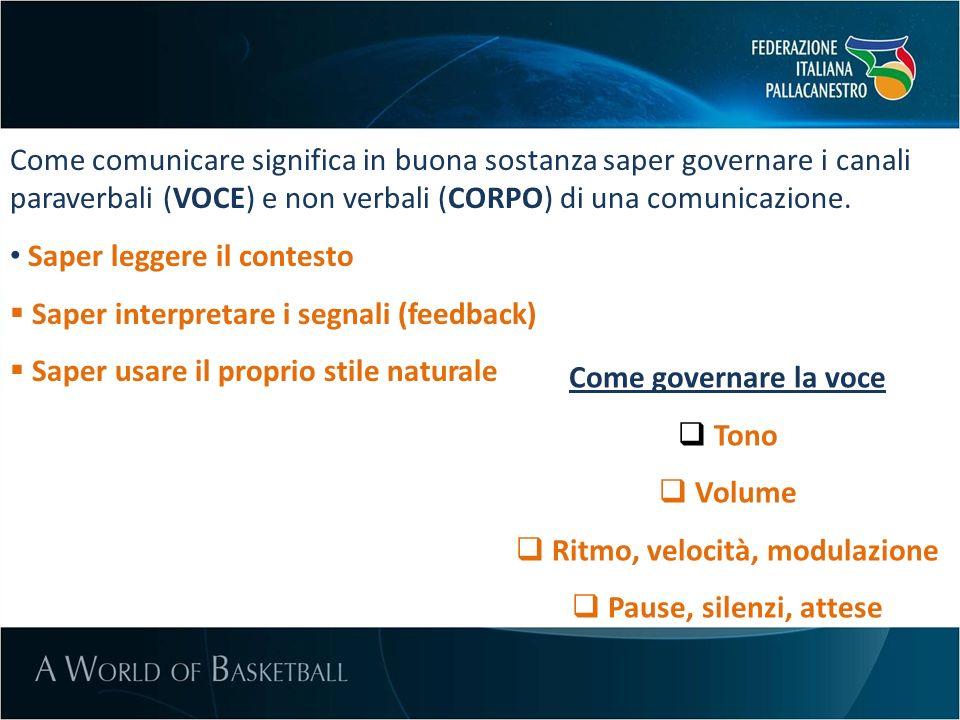 Come comunicare significa in buona sostanza saper governare i canali paraverbali (VOCE) e non verbali (CORPO) di una comunicazione. Saper leggere il c