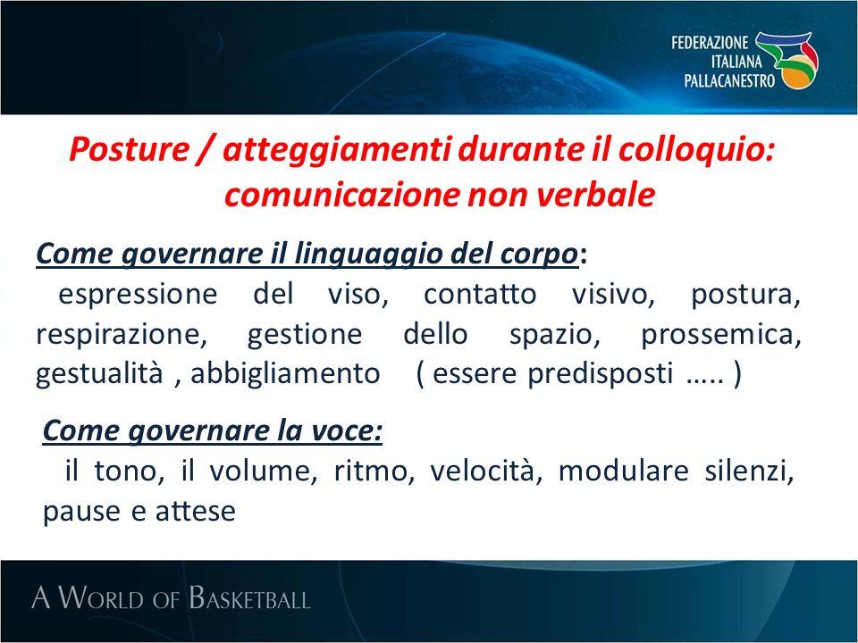 Posture / atteggiamenti durante il colloquio: comunicazione non verbale Come governare il linguaggio del corpo: espressione del viso, contatto visivo,