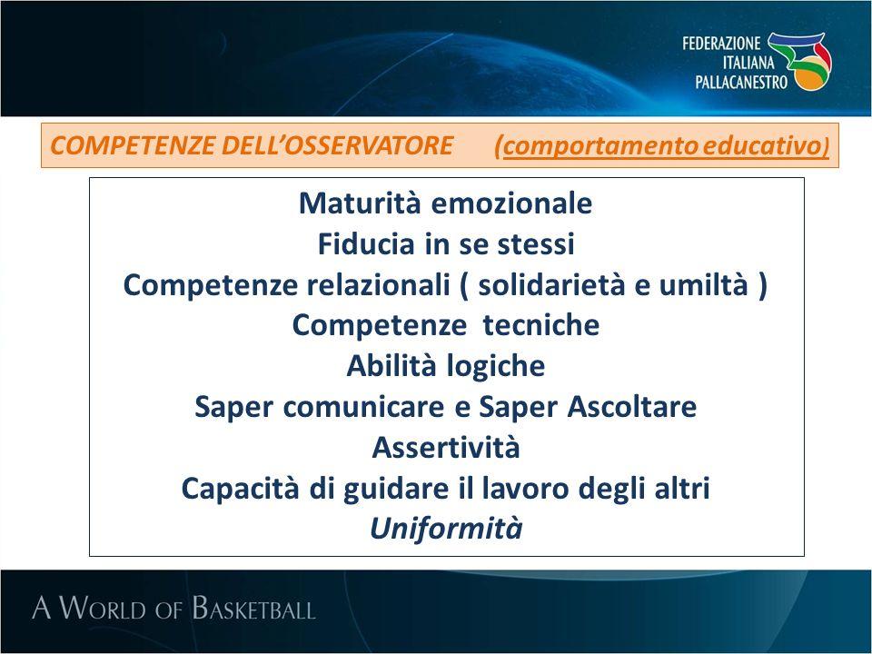 COMPETENZE DELLOSSERVATORE (comportamento educativo ) Maturità emozionale Fiducia in se stessi Competenze relazionali ( solidarietà e umiltà ) Compete