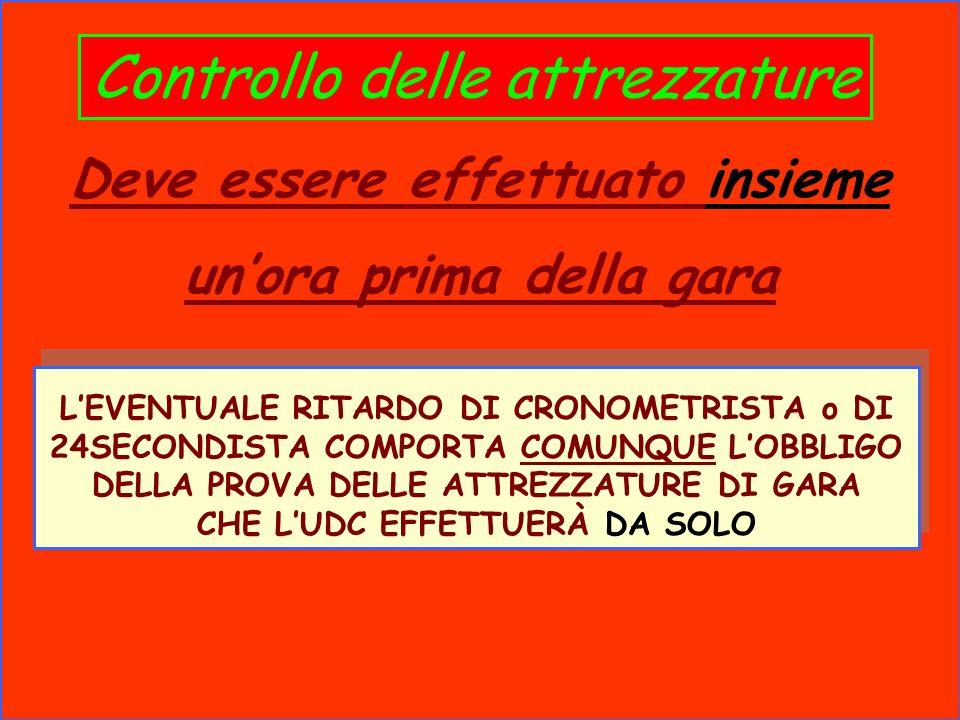 Controllo delle attrezzature Deve essere effettuato insieme unora prima della gara LEVENTUALE RITARDO DI CRONOMETRISTA o DI 24SECONDISTA COMPORTA COMU