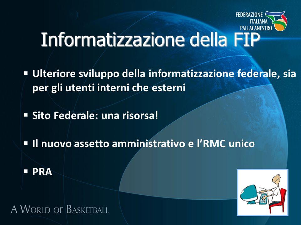 Informatizzazione della FIP Ulteriore sviluppo della informatizzazione federale, sia per gli utenti interni che esterni Sito Federale: una risorsa.