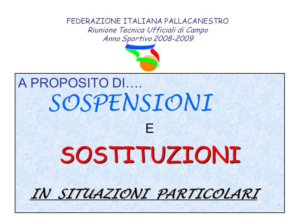FEDERAZIONE ITALIANA PALLACANESTRO Riunione Tecnica Ufficiali di Campo Anno Sportivo 2008-2009 A PROPOSITO DI…. SOSPENSIONI ESOSTITUZIONI IN SITUAZION