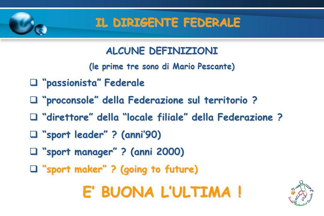 IL DIRIGENTE FEDERALE ALCUNE DEFINIZIONI (le prime tre sono di Mario Pescante) passionista Federale passionista Federale proconsole della Federazione sul territorio .