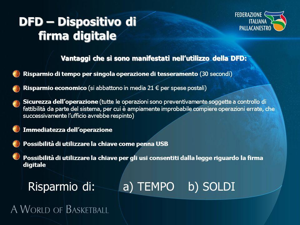 DFD – Dispositivo di firma digitale Vantaggi che si sono manifestati nellutilizzo della DFD: Risparmio di tempo per singola operazione di tesseramento