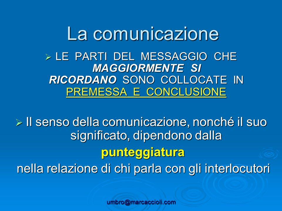 umbro@marcaccioli.com La comunicazione LE PARTI DEL MESSAGGIO CHE MAGGIORMENTE SI RICORDANO SONO COLLOCATE IN PREMESSA E CONCLUSIONE LE PARTI DEL MESS