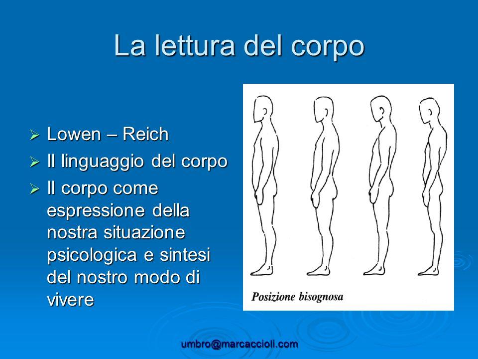 umbro@marcaccioli.com La lettura del corpo Lowen – Reich Lowen – Reich Il linguaggio del corpo Il linguaggio del corpo Il corpo come espressione della