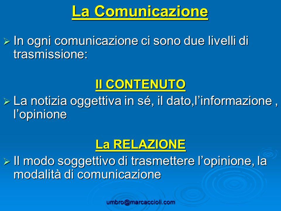 umbro@marcaccioli.com La Comunicazione In ogni comunicazione ci sono due livelli di trasmissione: In ogni comunicazione ci sono due livelli di trasmis