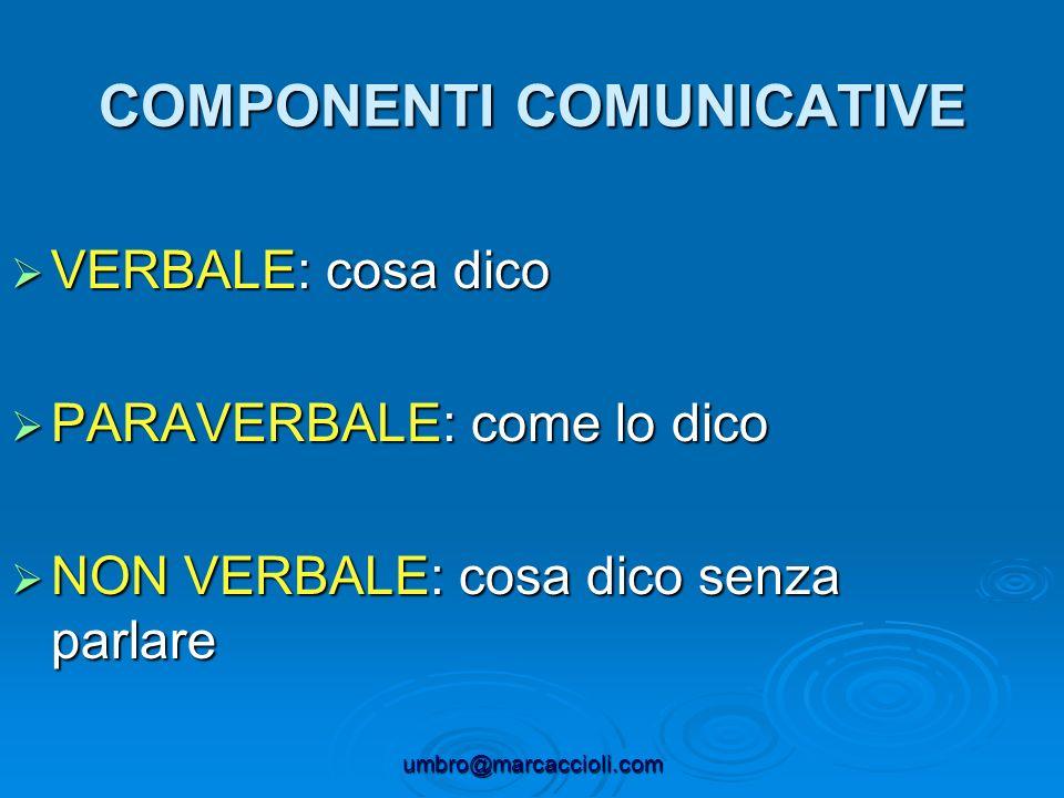 umbro@marcaccioli.com COMPONENTI COMUNICATIVE VERBALE: cosa dico VERBALE: cosa dico PARAVERBALE: come lo dico PARAVERBALE: come lo dico NON VERBALE: c