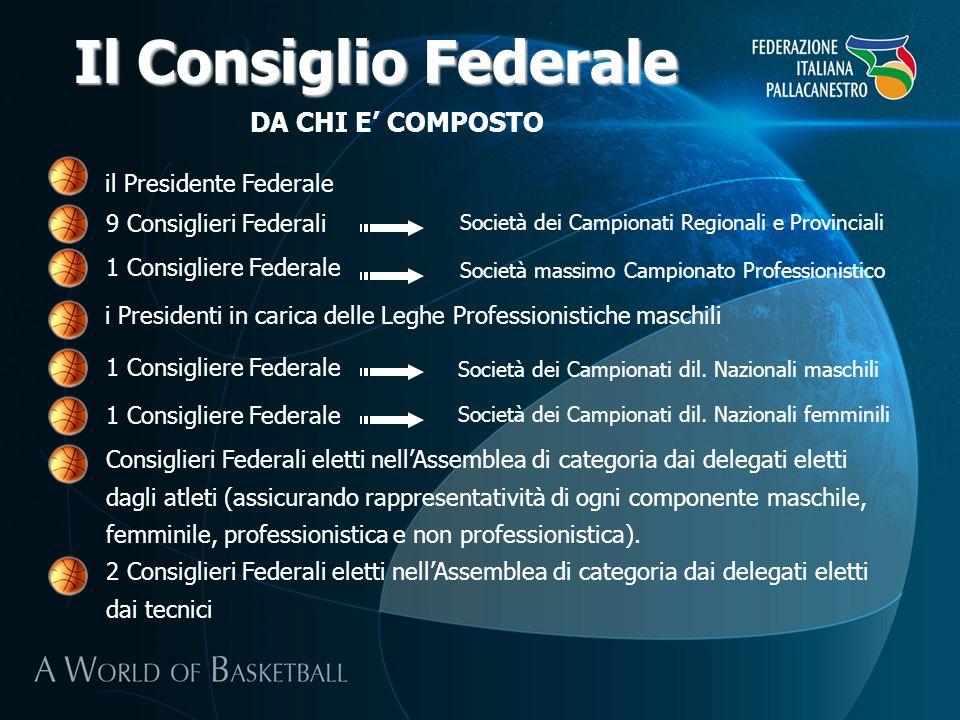 DA CHI E COMPOSTO Il Consiglio Federale 1 Consigliere Federale il Presidente Federale i Presidenti in carica delle Leghe Professionistiche maschili 9