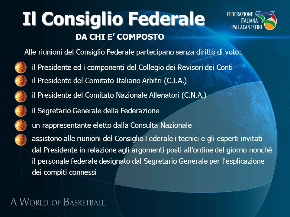 DA CHI E COMPOSTO Il Consiglio Federale il Presidente del Comitato Italiano Arbitri (C.I.A.) Alle riunioni del Consiglio Federale partecipano senza di