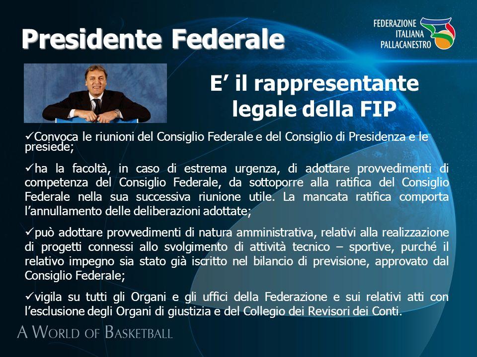 Presidente Federale E il rappresentante legale della FIP Convoca le riunioni del Consiglio Federale e del Consiglio di Presidenza e le presiede; ha la