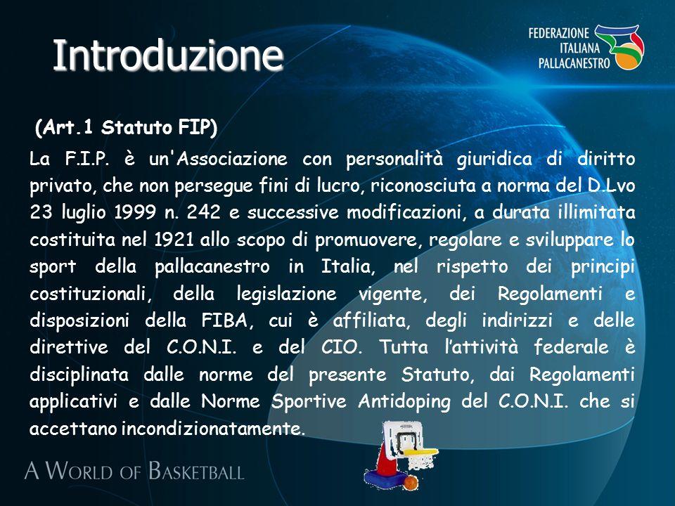 Introduzione (Art.1 Statuto FIP) La F.I.P. è un'Associazione con personalità giuridica di diritto privato, che non persegue fini di lucro, riconosciut