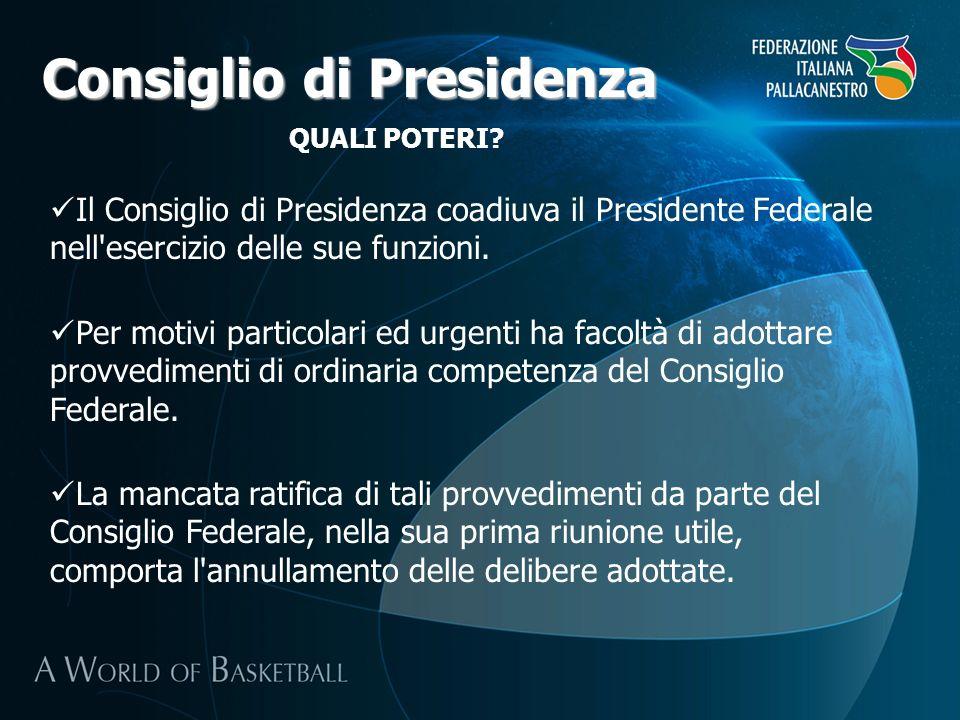 Consiglio di Presidenza QUALI POTERI? Il Consiglio di Presidenza coadiuva il Presidente Federale nell'esercizio delle sue funzioni. Per motivi partico