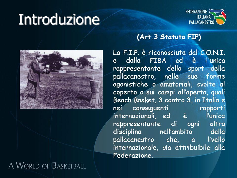Introduzione (Art.3 Statuto FIP) La F.I.P. è riconosciuta dal C.O.N.I. e dalla FIBA ed è l'unica rappresentante dello sport della pallacanestro, nelle