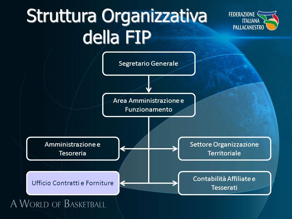 Struttura Organizzativa della FIP Segretario Generale Area Amministrazione e Funzionamento Amministrazione e Tesoreria Settore Organizzazione Territor