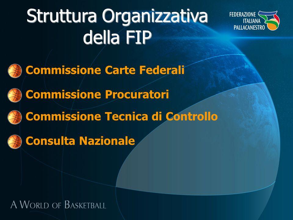 Struttura Organizzativa della FIP Commissione Carte Federali Commissione Procuratori Commissione Tecnica di Controllo Consulta Nazionale