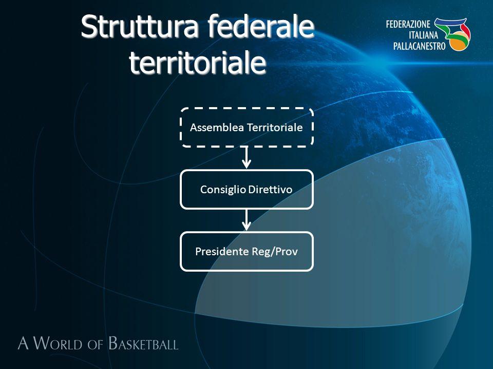 Struttura federale territoriale Assemblea Territoriale Consiglio Direttivo Presidente Reg/Prov