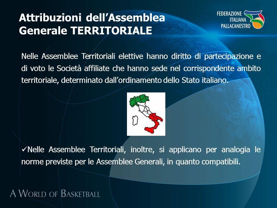 Nelle Assemblee Territoriali elettive hanno diritto di partecipazione e di voto le Società affiliate che hanno sede nel corrispondente ambito territor