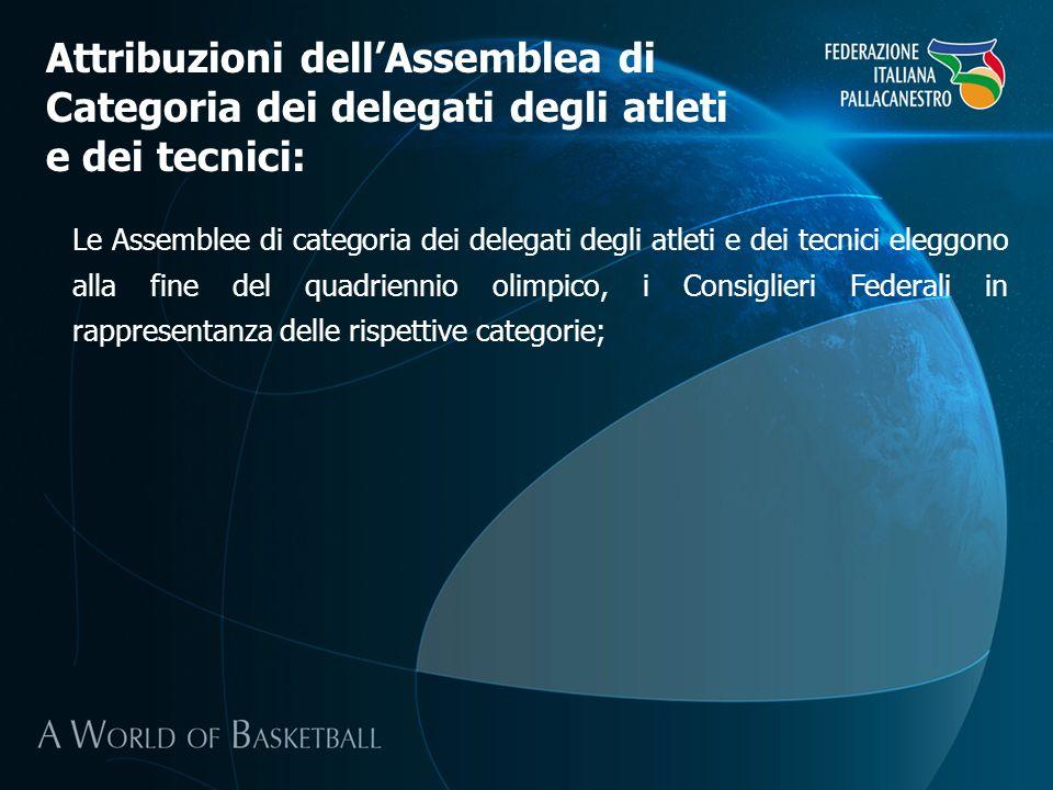 Le Assemblee di categoria dei delegati degli atleti e dei tecnici eleggono alla fine del quadriennio olimpico, i Consiglieri Federali in rappresentanz