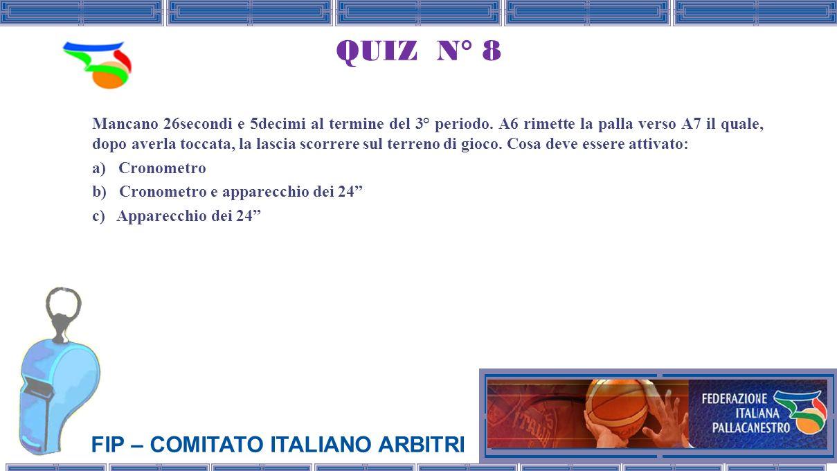 FIP – COMITATO ITALIANO ARBITRI QUIZ N° 8 Mancano 26secondi e 5decimi al termine del 3° periodo.