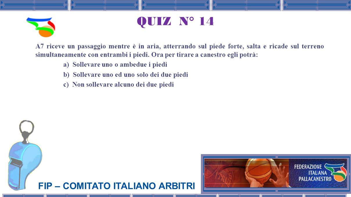 FIP – COMITATO ITALIANO ARBITRI QUIZ N° 14 A7 riceve un passaggio mentre è in aria, atterrando sul piede forte, salta e ricade sul terreno simultaneamente con entrambi i piedi.