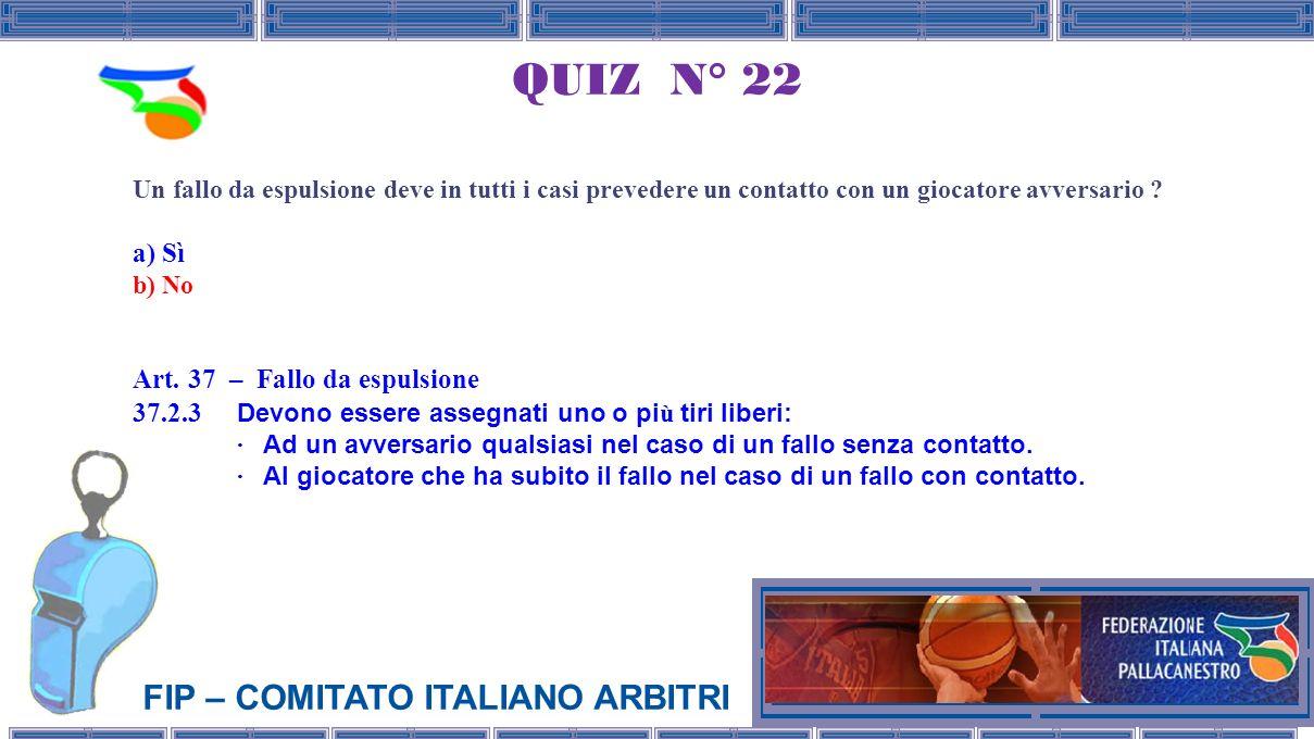 FIP – COMITATO ITALIANO ARBITRI QUIZ N° 22 Un fallo da espulsione deve in tutti i casi prevedere un contatto con un giocatore avversario .