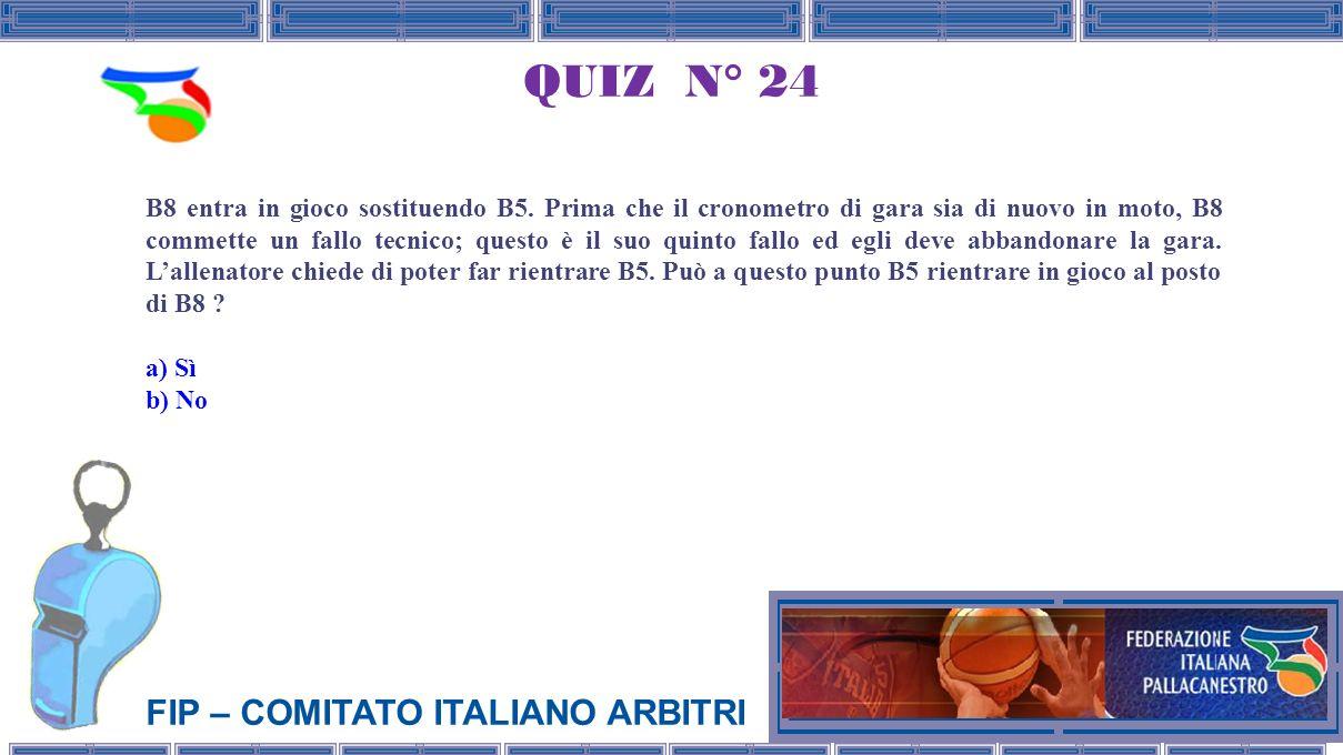 FIP – COMITATO ITALIANO ARBITRI QUIZ N° 24 B8 entra in gioco sostituendo B5.