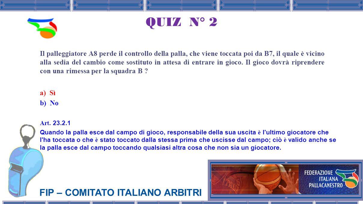 FIP – COMITATO ITALIANO ARBITRI QUIZ N° 2 Il palleggiatore A8 perde il controllo della palla, che viene toccata poi da B7, il quale è vicino alla sedia del cambio come sostituto in attesa di entrare in gioco.