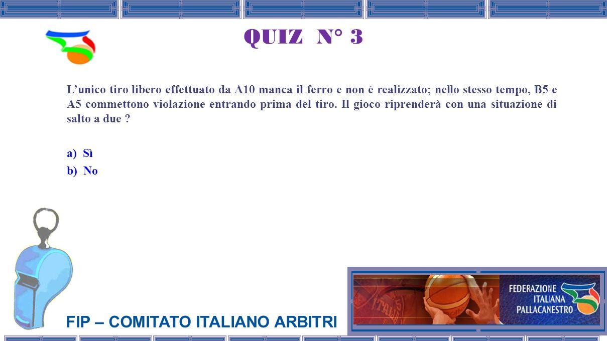FIP – COMITATO ITALIANO ARBITRI QUIZ N° 3 Lunico tiro libero effettuato da A10 manca il ferro e non è realizzato; nello stesso tempo, B5 e A5 commettono violazione entrando prima del tiro.