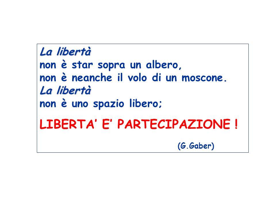 La libertà La libertà La libertà non è star sopra un albero, non è neanche il volo di un moscone. La libertà non è uno spazio libero; LIBERTA E PARTEC