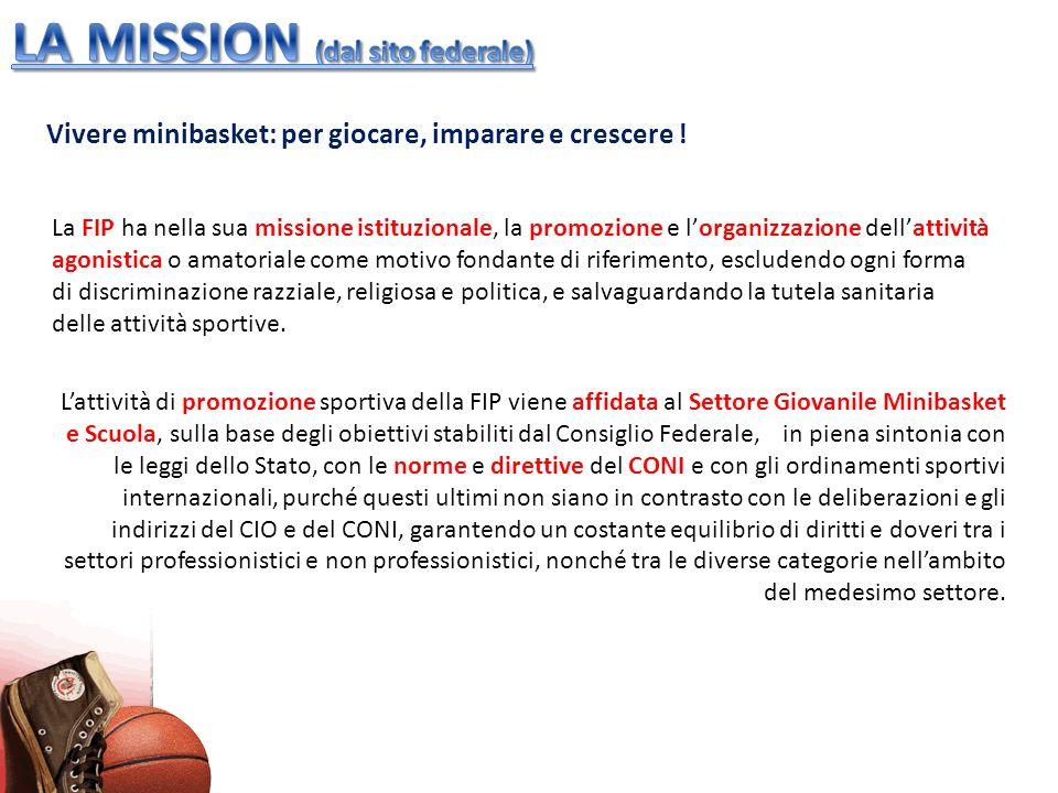 Vivere minibasket: per giocare, imparare e crescere ! La FIP ha nella sua missione istituzionale, la promozione e lorganizzazione dellattività agonist