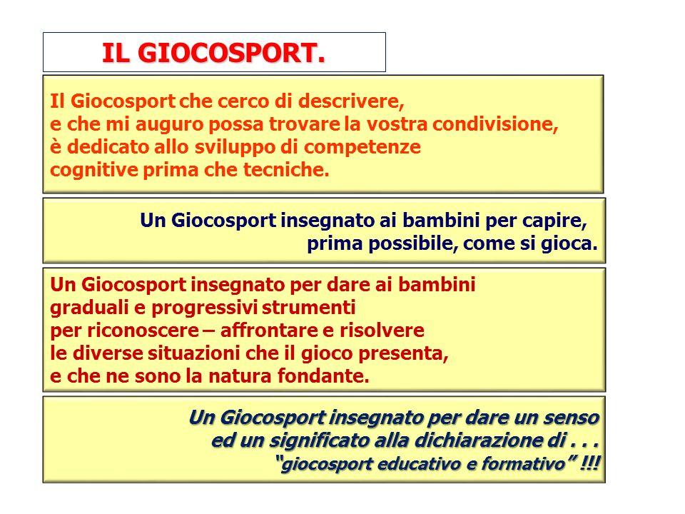 Il Giocosport che cerco di descrivere, e che mi auguro possa trovare la vostra condivisione, è dedicato allo sviluppo di competenze cognitive prima ch