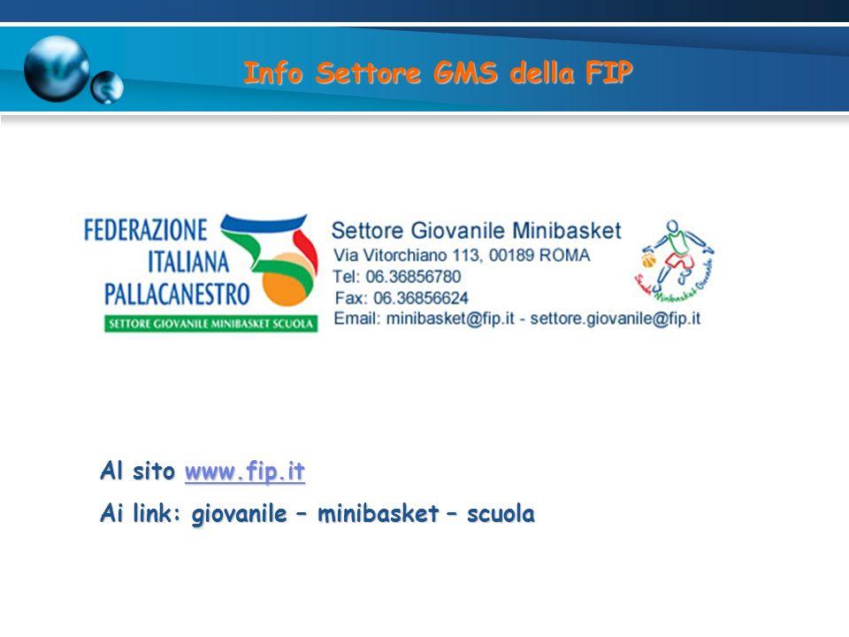 Info Settore GMS della FIP Al sito www.fip.it www.fip.it Ai link: giovanile – minibasket – scuola