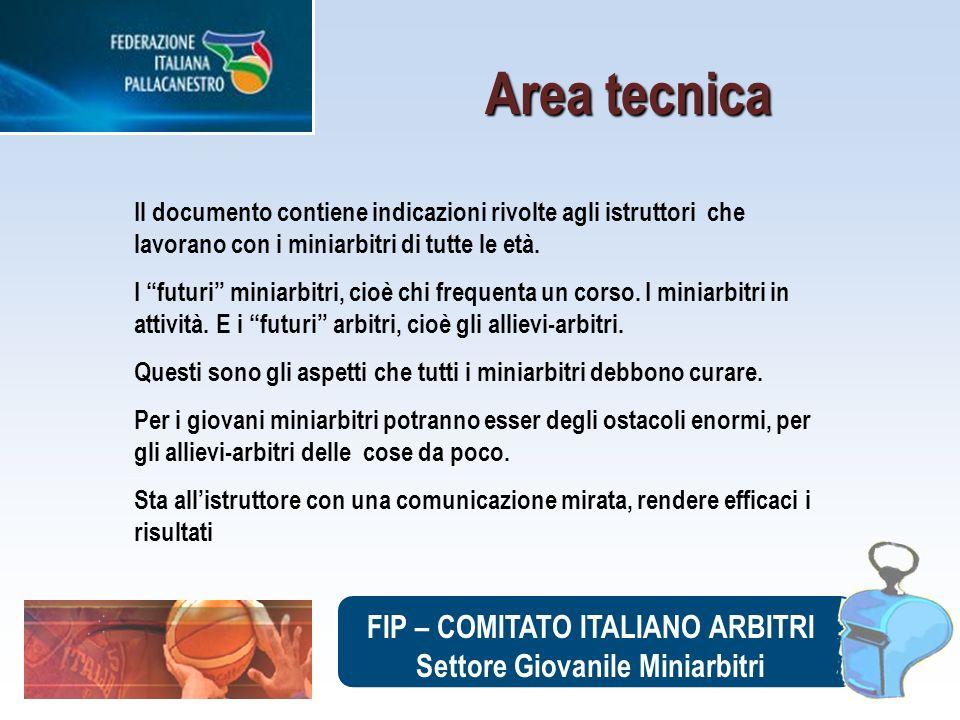 FIP – COMITATO ITALIANO ARBITRI Settore Giovanile Miniarbitri Il documento contiene indicazioni rivolte agli istruttori che lavorano con i miniarbitri