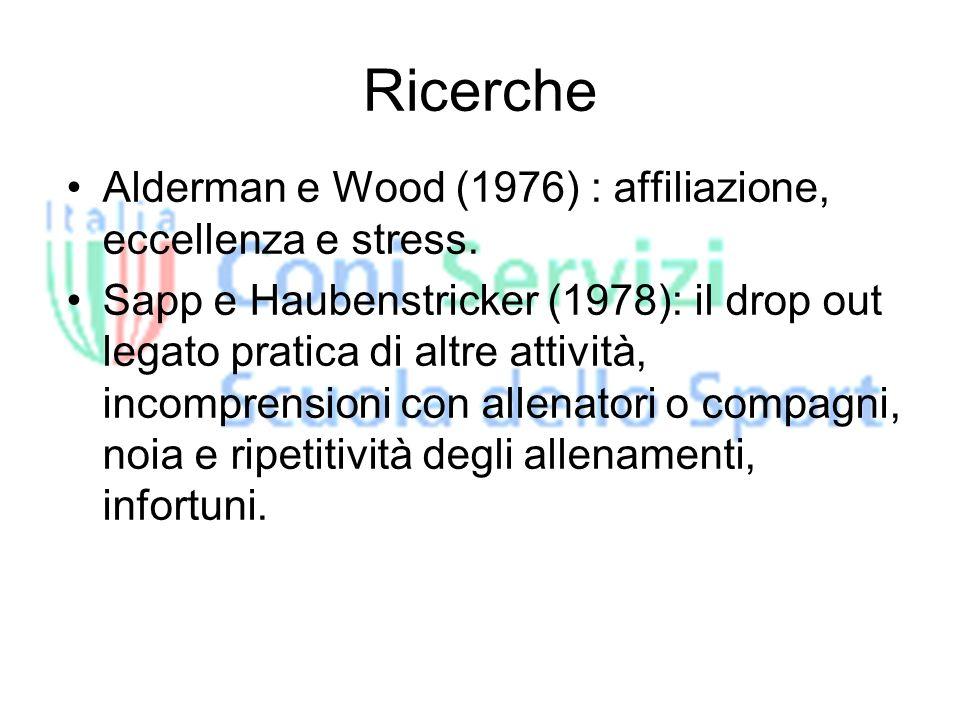 Ricerche Alderman e Wood (1976) : affiliazione, eccellenza e stress.