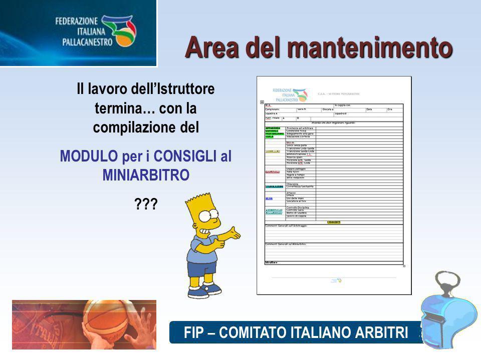 Il lavoro dellIstruttore termina… con la compilazione del MODULO per i CONSIGLI al MINIARBITRO .